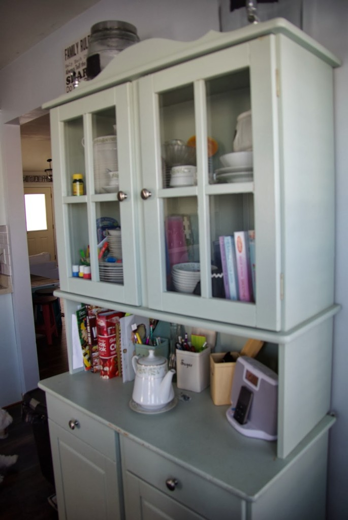 light green china cabinet