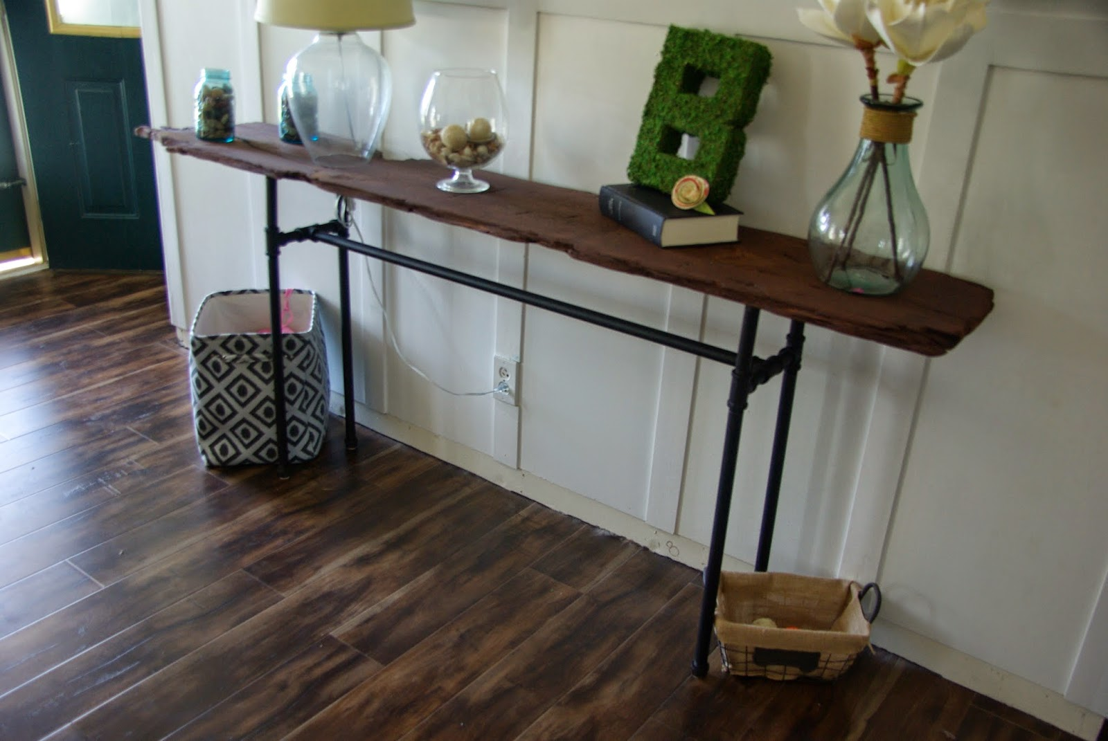 industrial/rustic console table