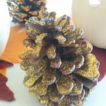 DIY fall decorations, glitter pine cones