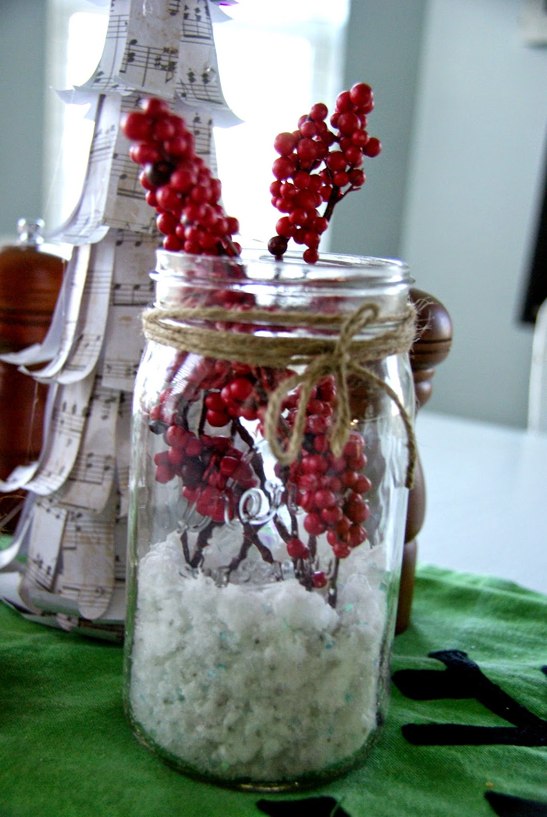Christmas mason jars and fake snow