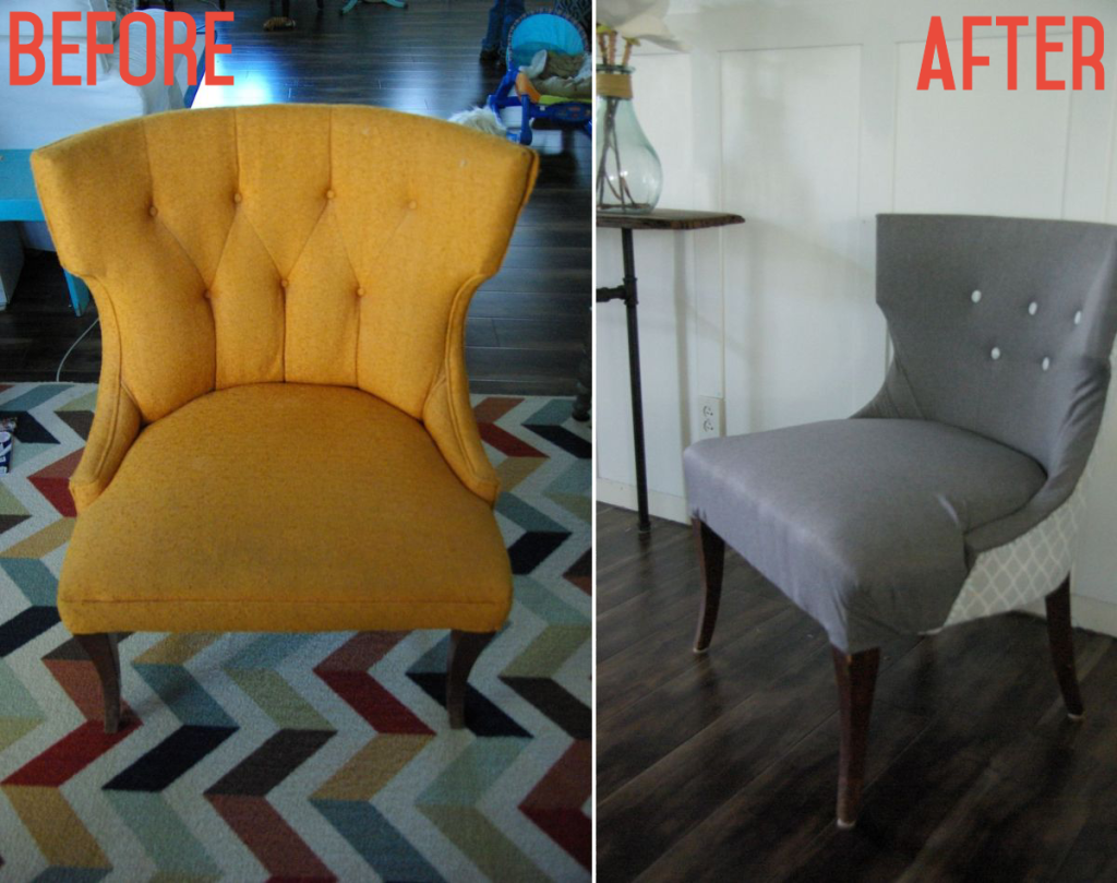 No sew complete chair reupholster, Homedit contributing article