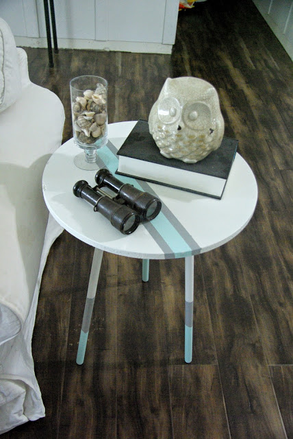 paint dipped, coastal style end table redo