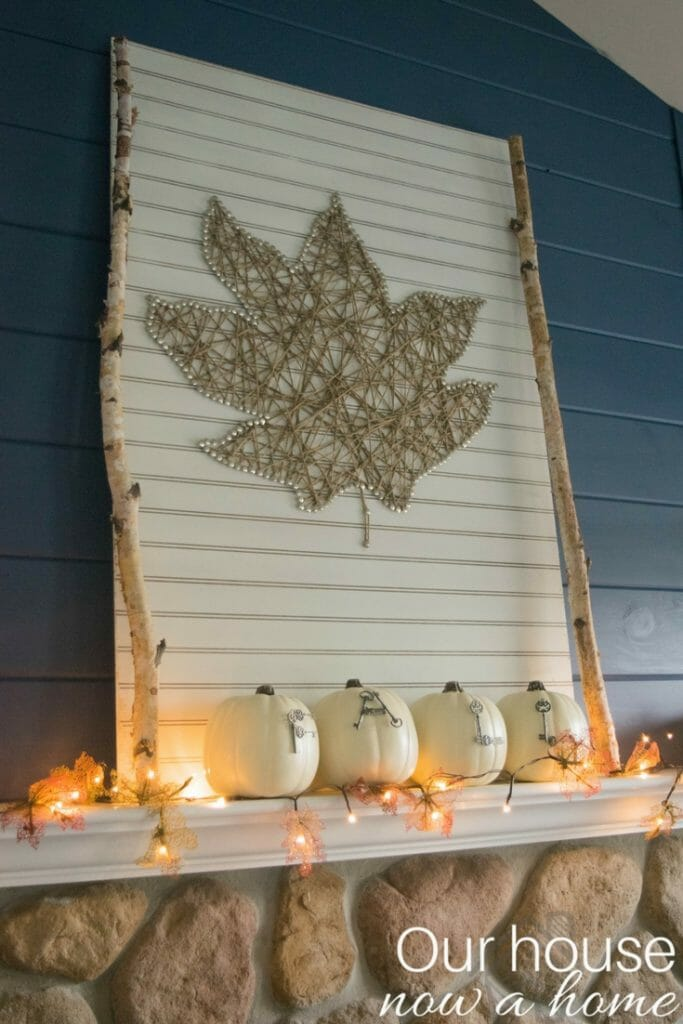 DIY fall leaf garland with lights. Easy to make with these dollar store items.