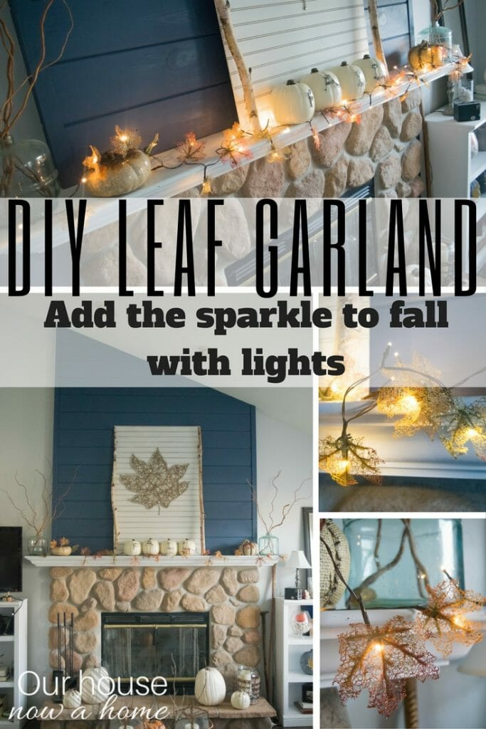How to make this DIY leaf garland, with lights to add sparkle. Simple steps to make this perfectly fall craft.