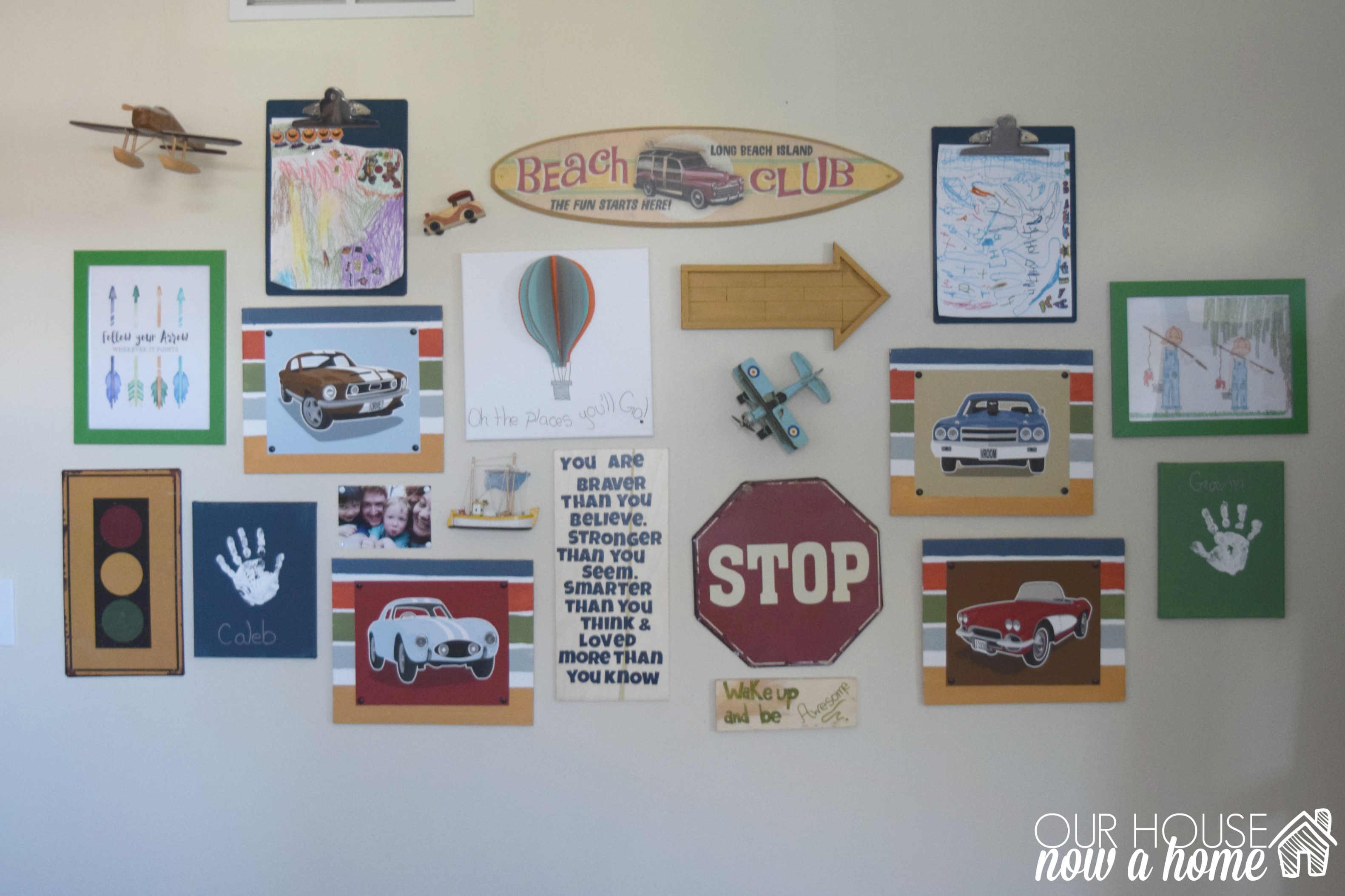 Boy bedroom gallery wall, some DIY projects and a giveaway!