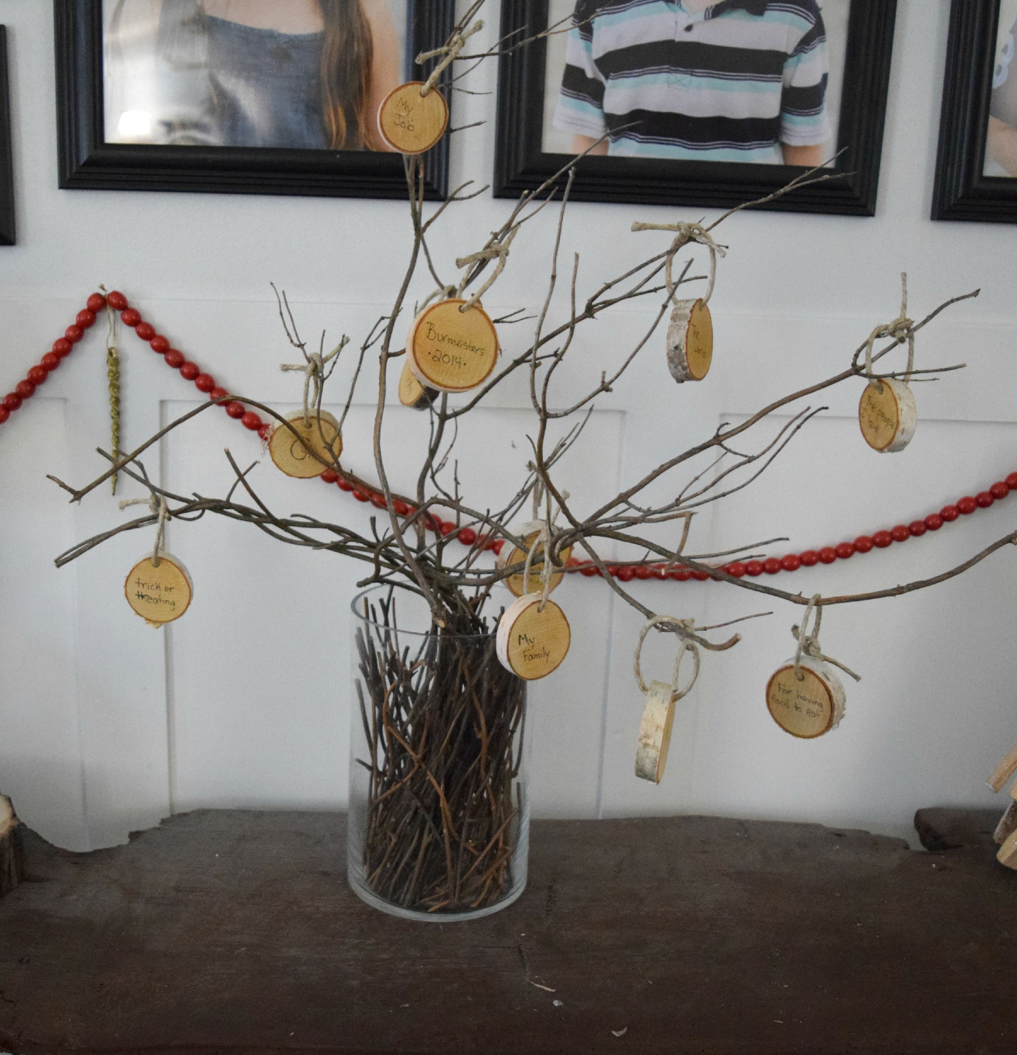 DIY rustic thankful tree