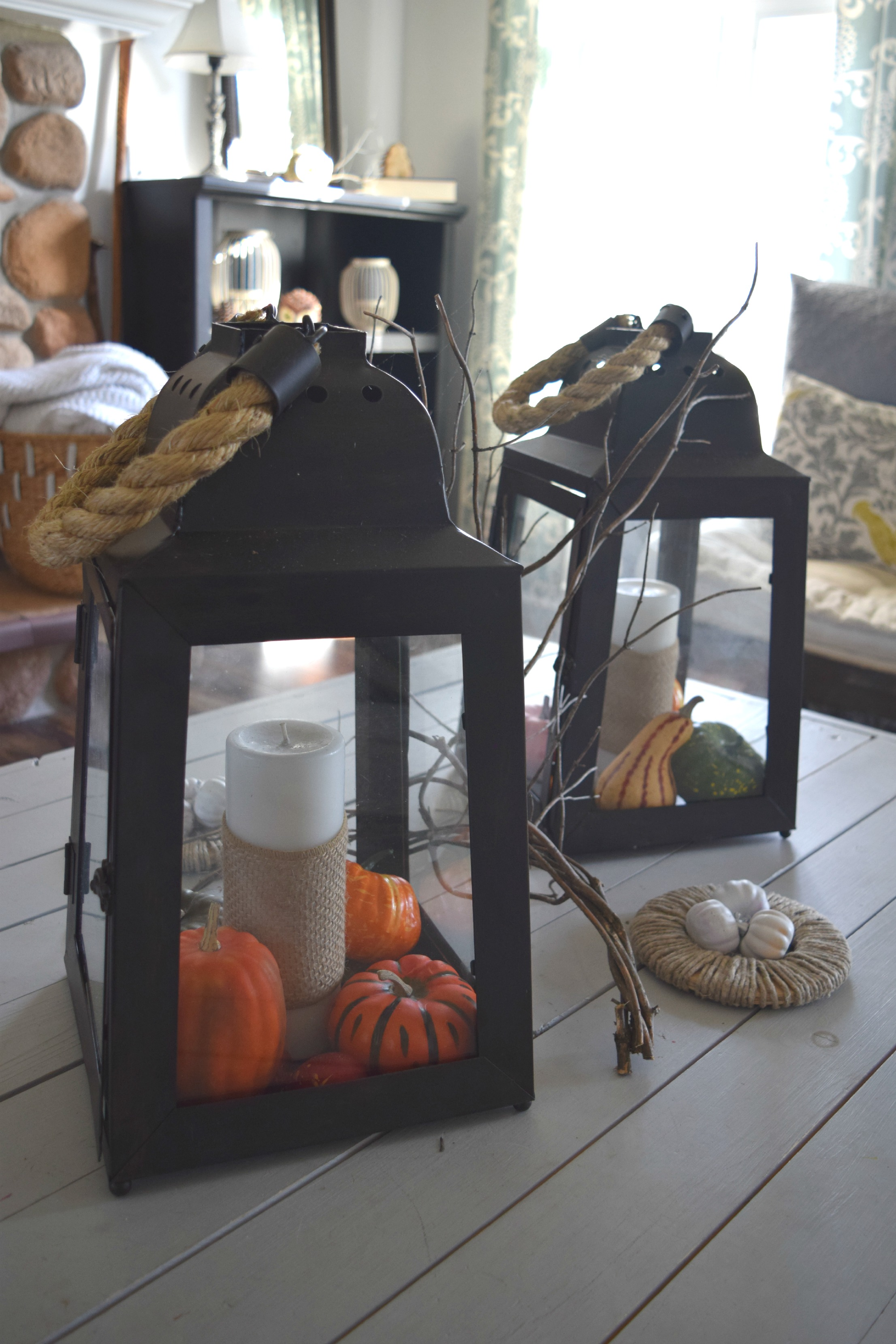 big lantern fall decor