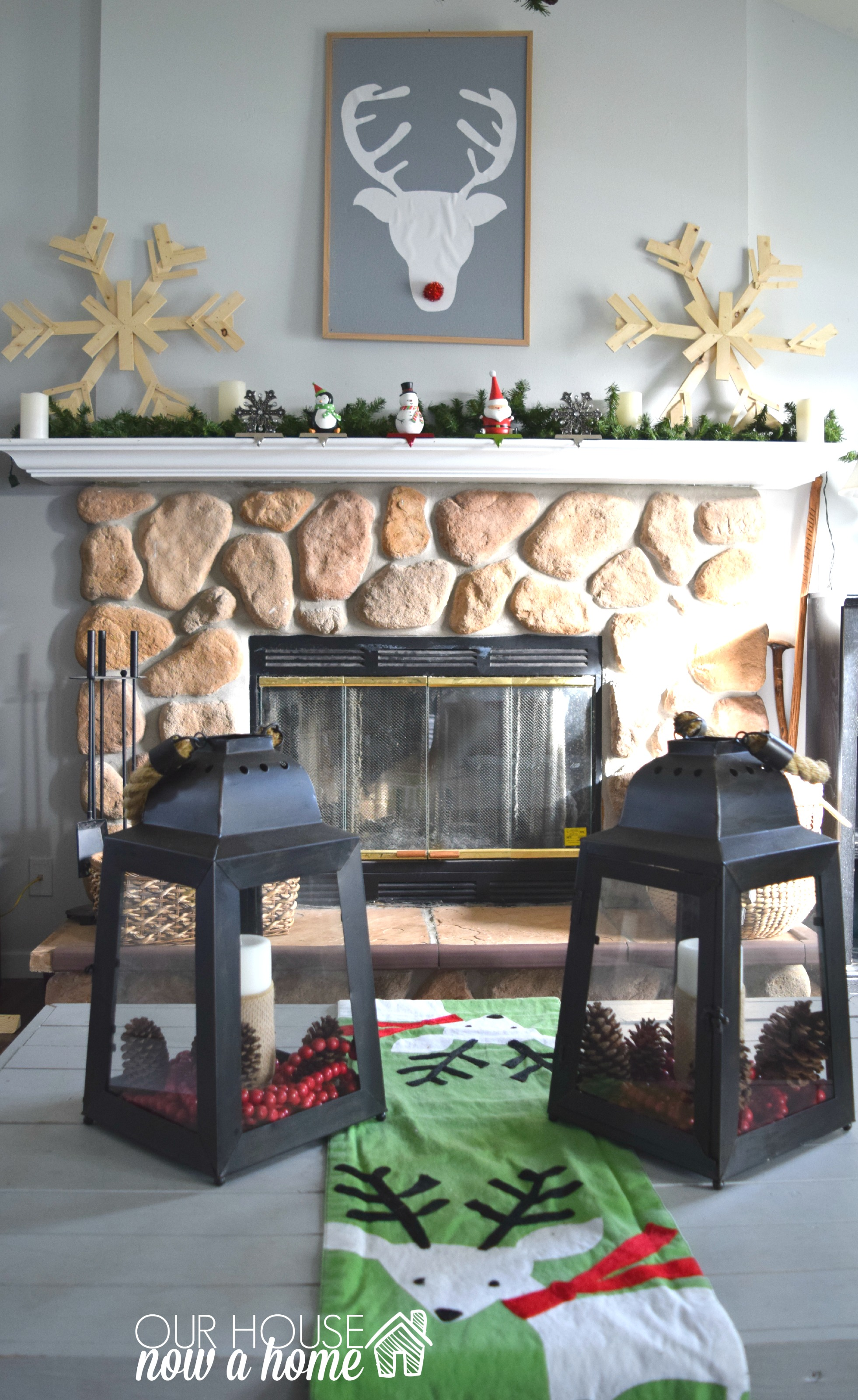 christmas fireplace decor witrh WM