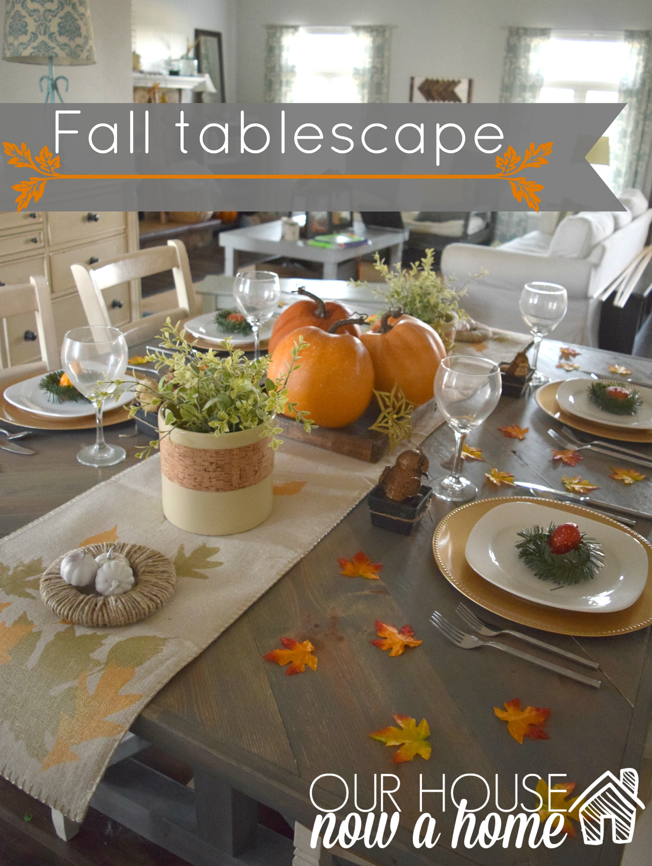 fall tablescape with title