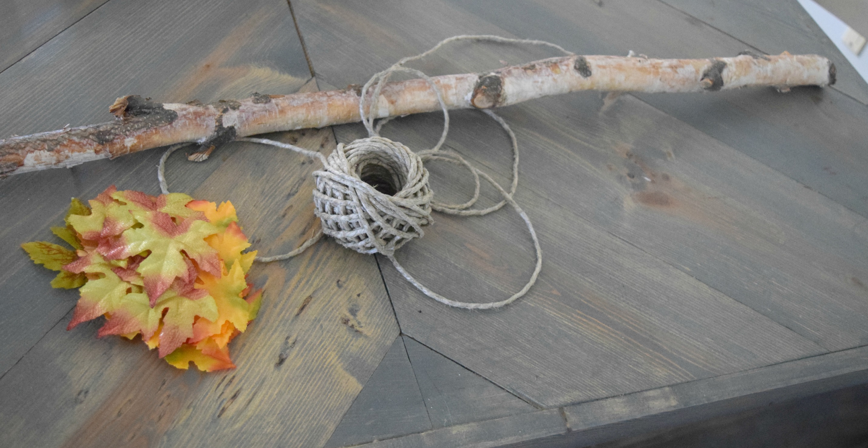 hanging stick and leaves for fall home decor