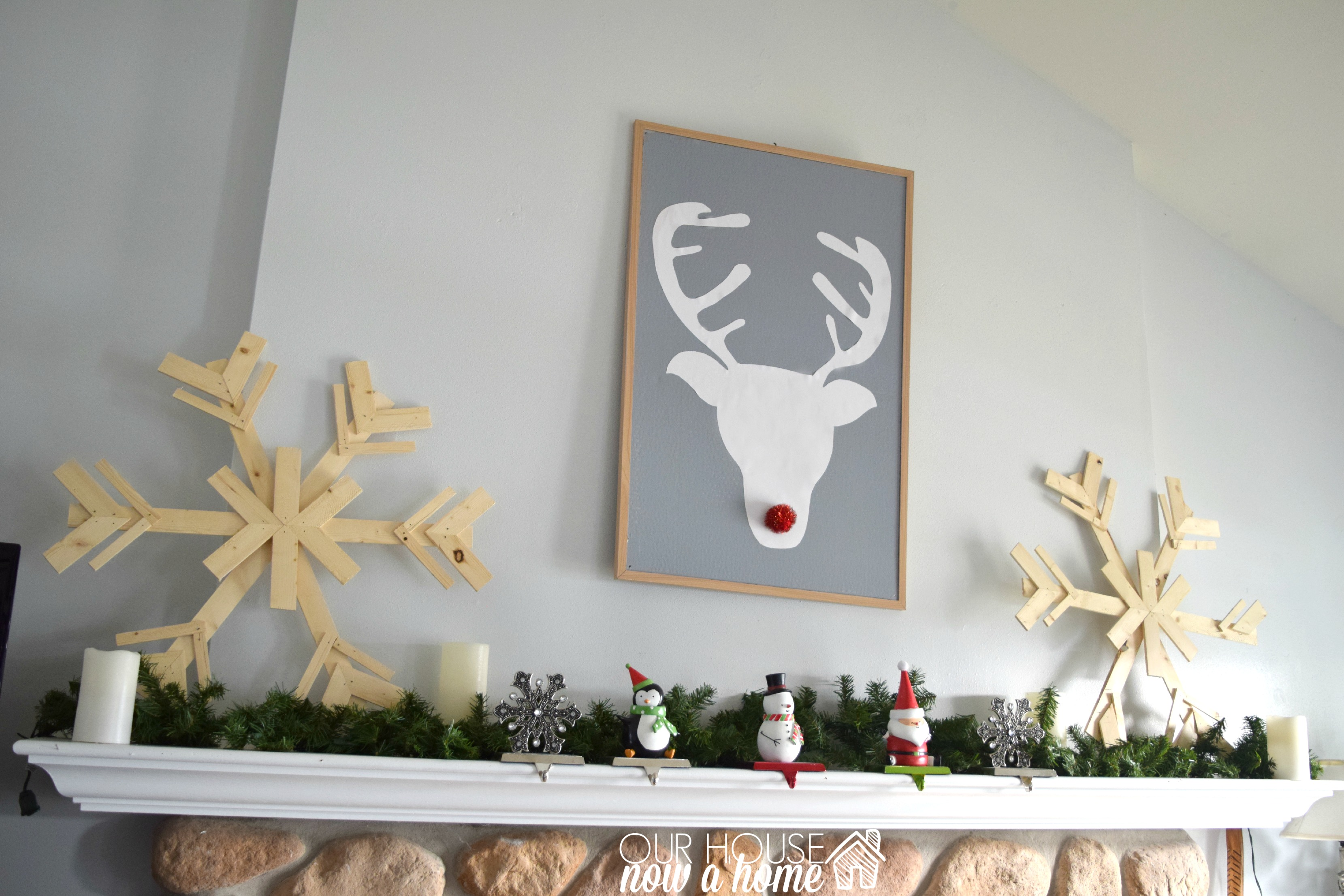holiday home tour fireplace mantel with WM