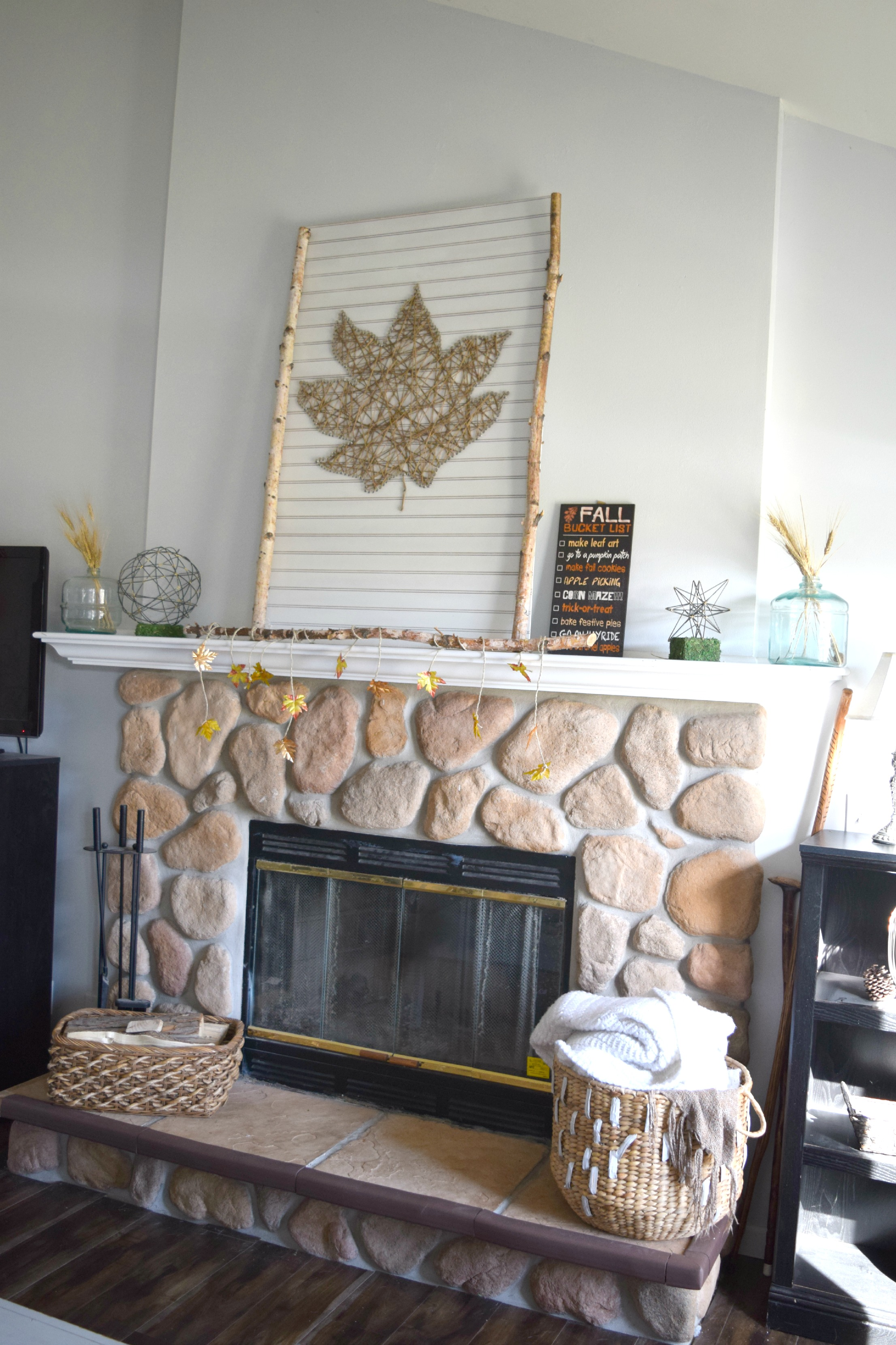 neutral color fall mantel