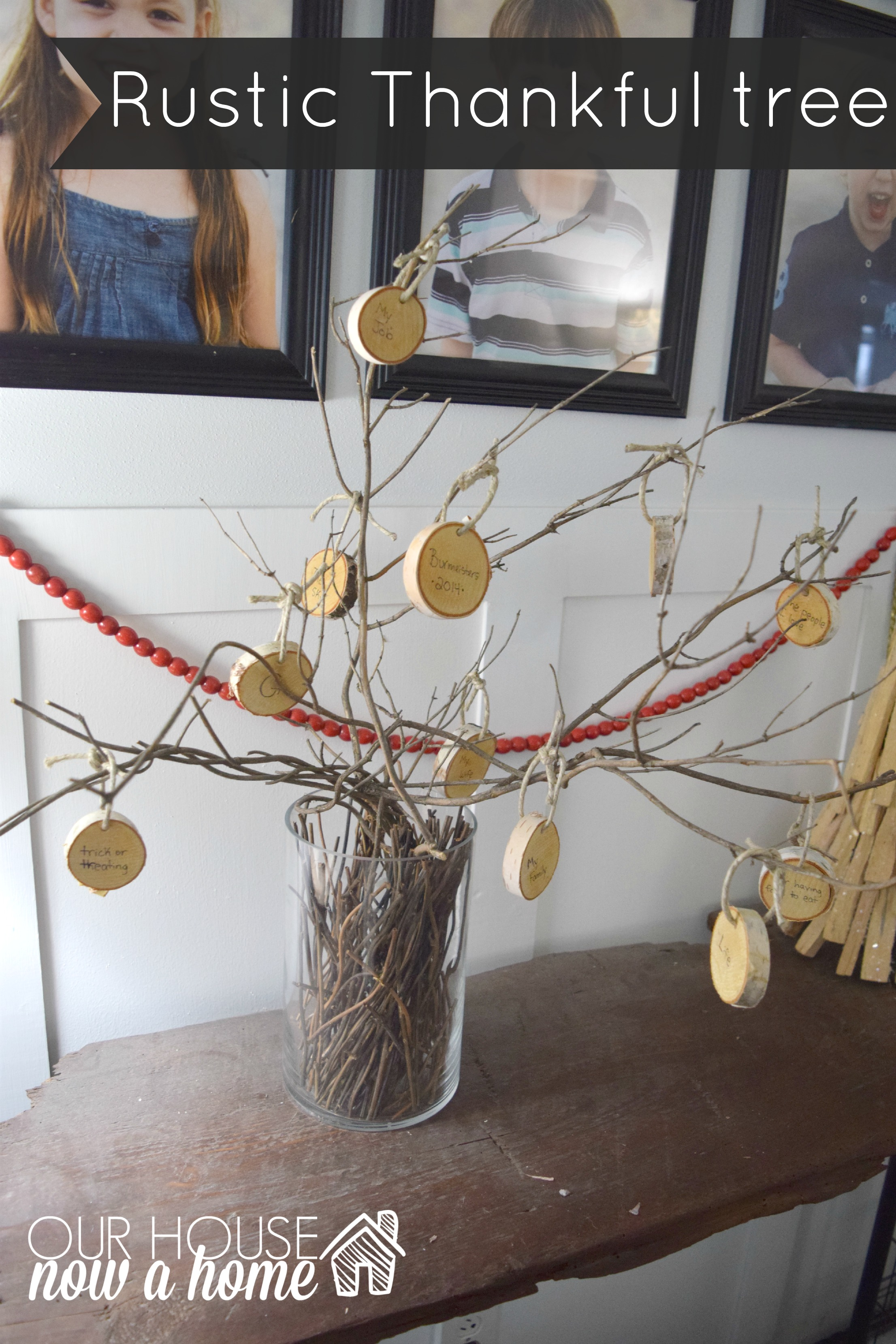 Family rustic Thankful tree
