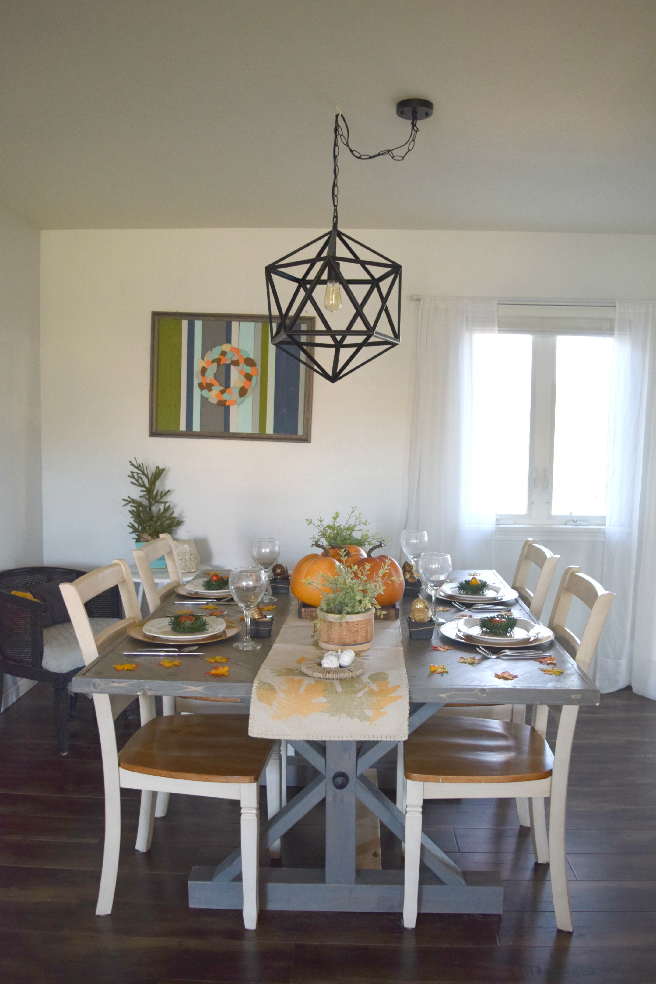 thanksgiving table set up in dining room