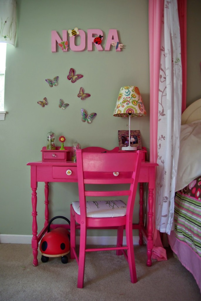 Pink upcycled old desk
