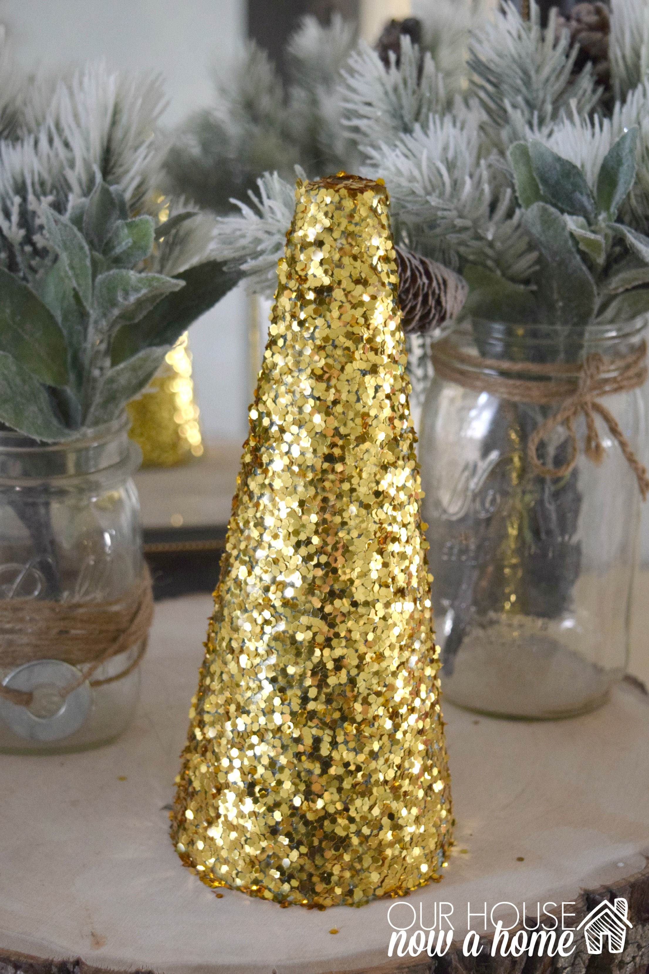 Diy simple christmas tree crafts adding the glitter