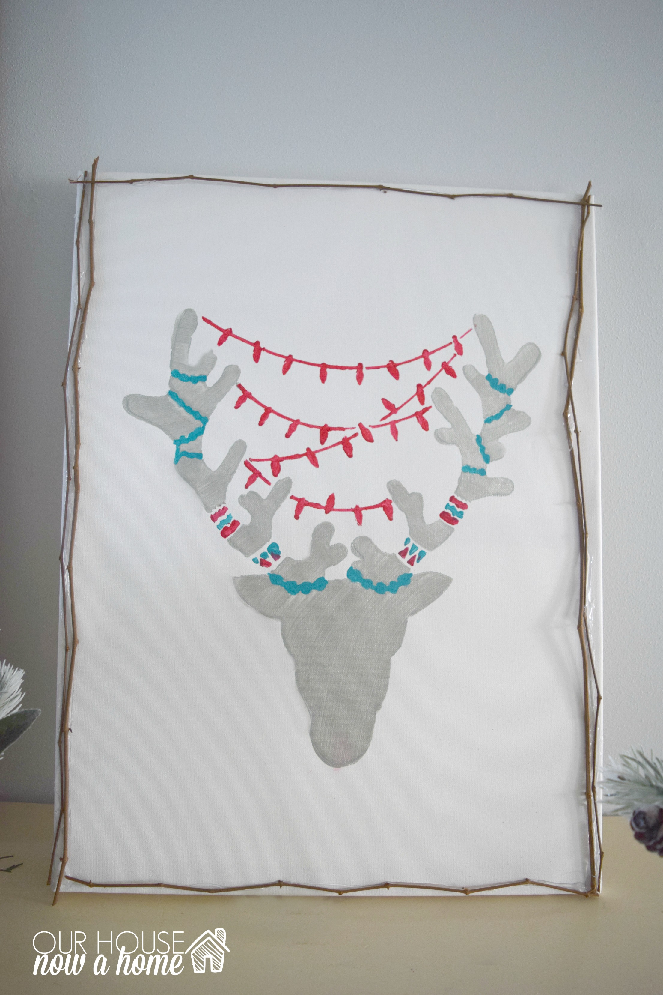 DIY Rustic reindeer canvas wall art