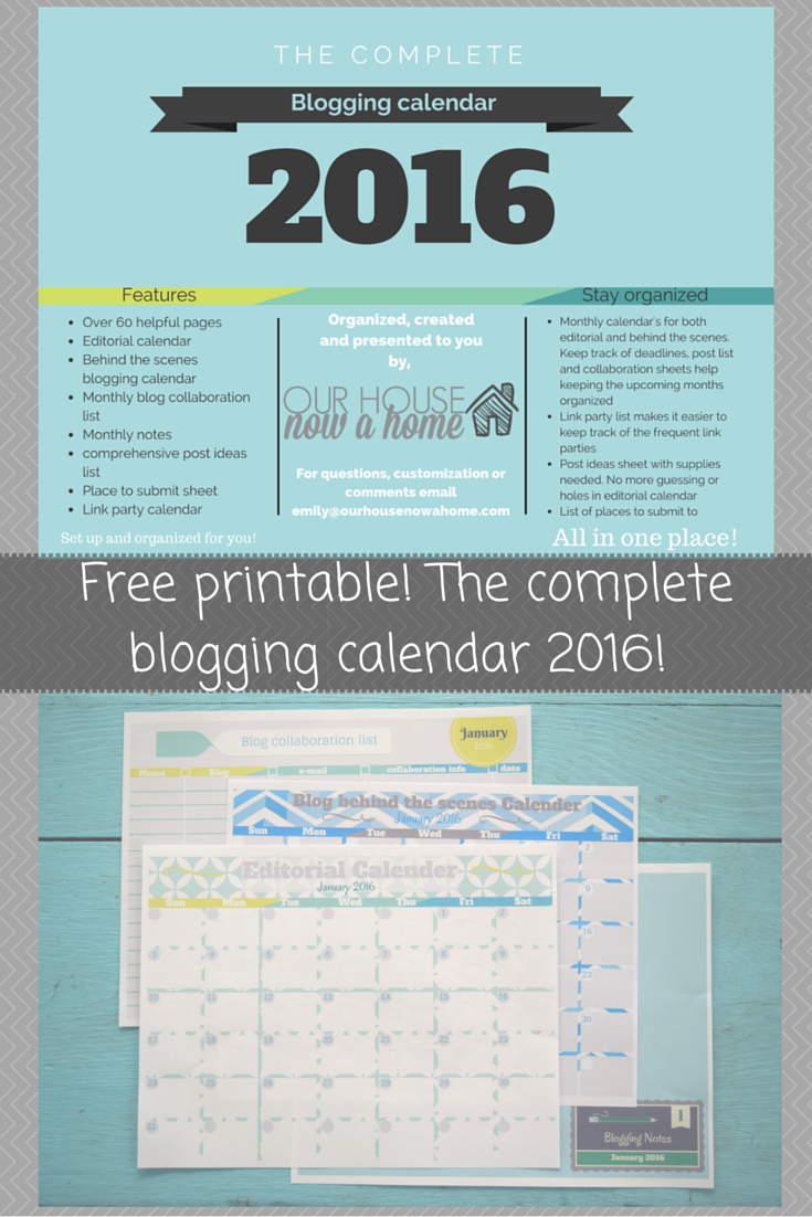 Free printable! The complete blogging calendar 2016!
