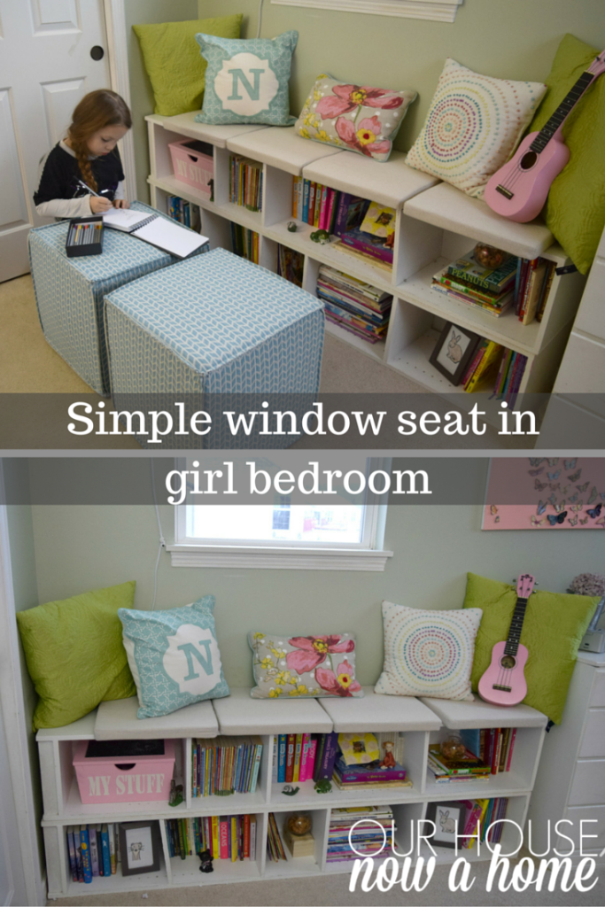 Simple reading nook in girl bedroom