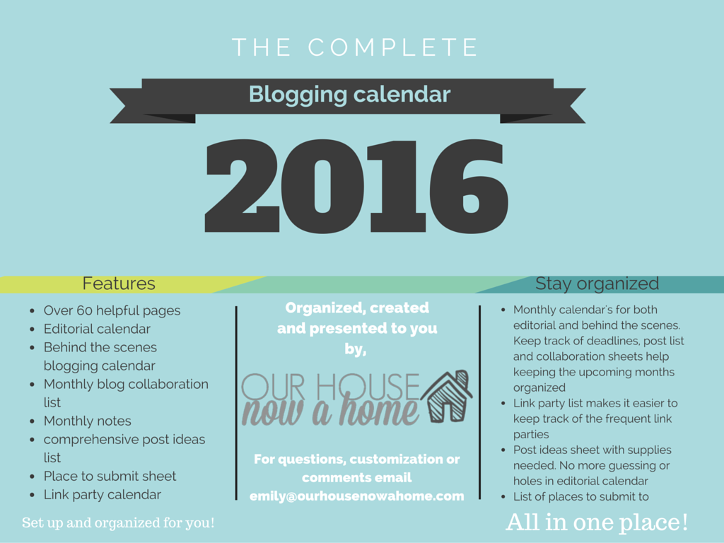 The complete blogging calendar 2016