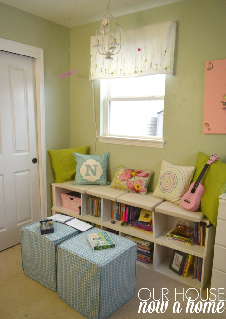 Wayfair poufs in reading nook