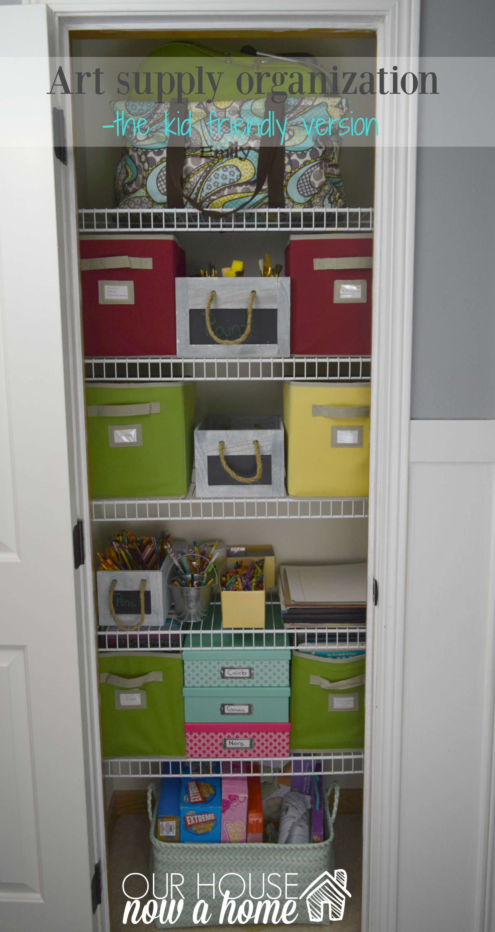 Art closet organization, adding more function