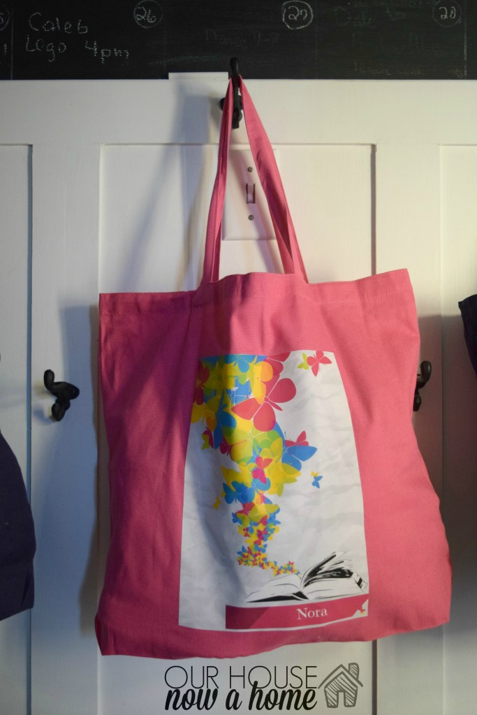 book worm and butterfly custom tote