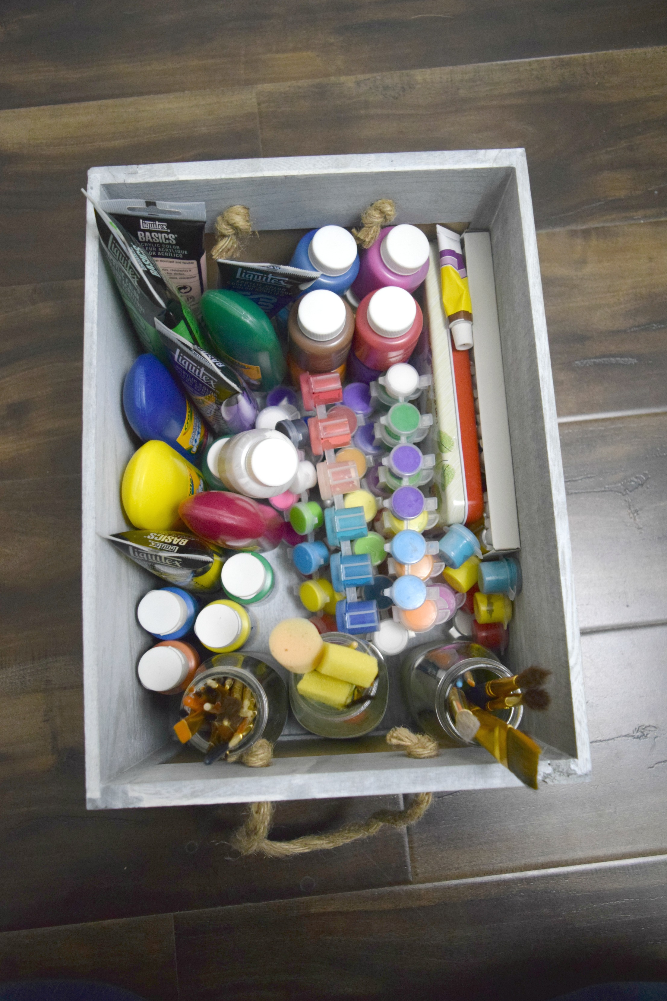 kids paint supply storage