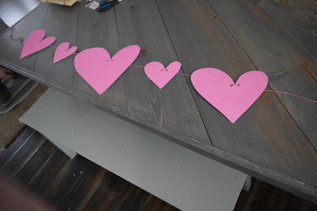 making a heart garland