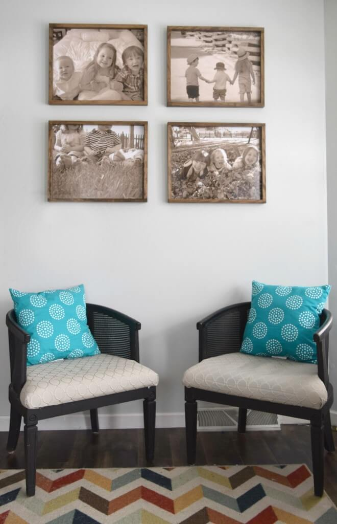 Seating-area-with-four-rustic-frames-above