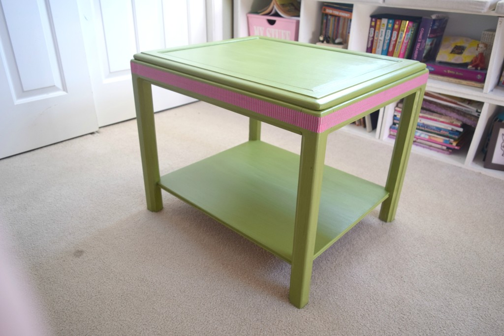 green table with pink details