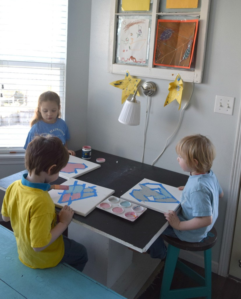 kids painting in craft room