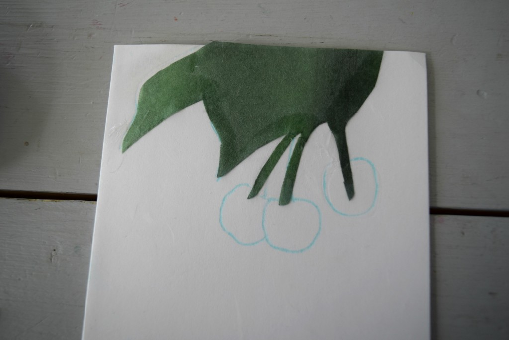 laying leaf on collage