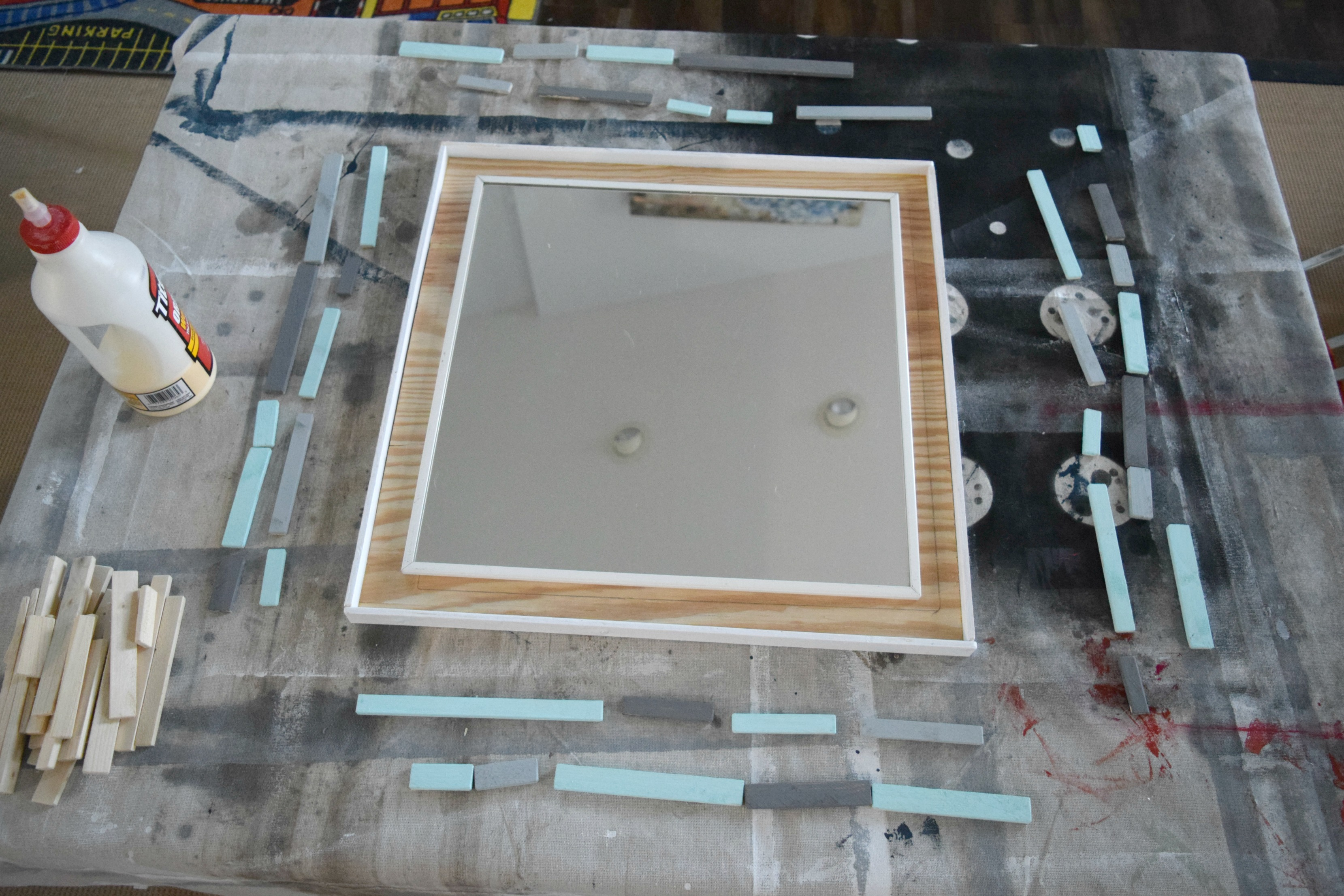 DIY wood scrap mirror frame • Our House Now a Home