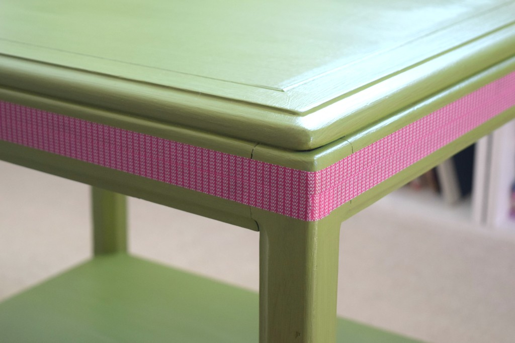 pink details on table