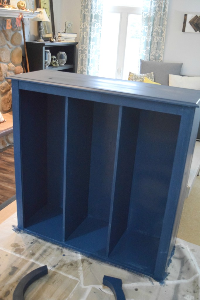 blue painted cabinet