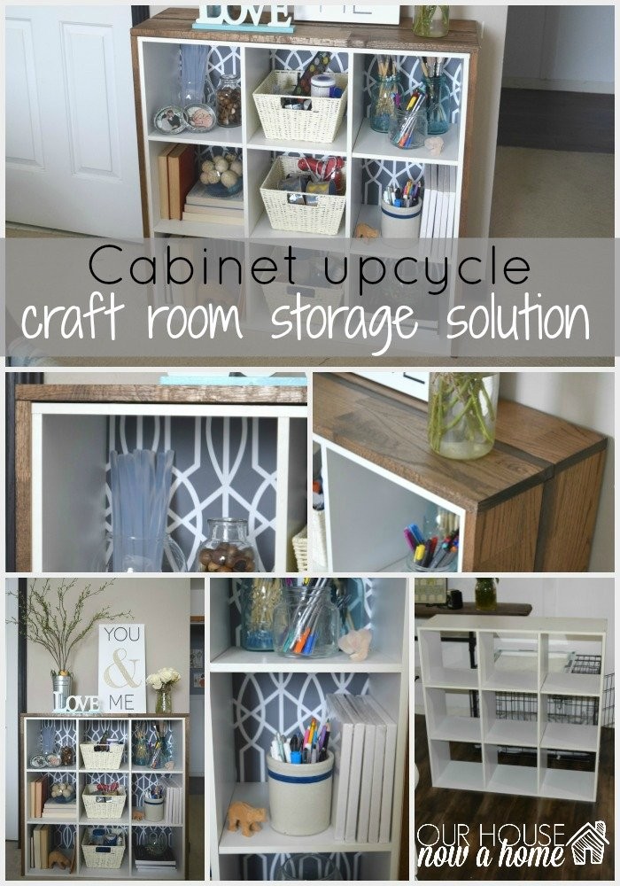Cabinet upcycle, creating craft supply storage
