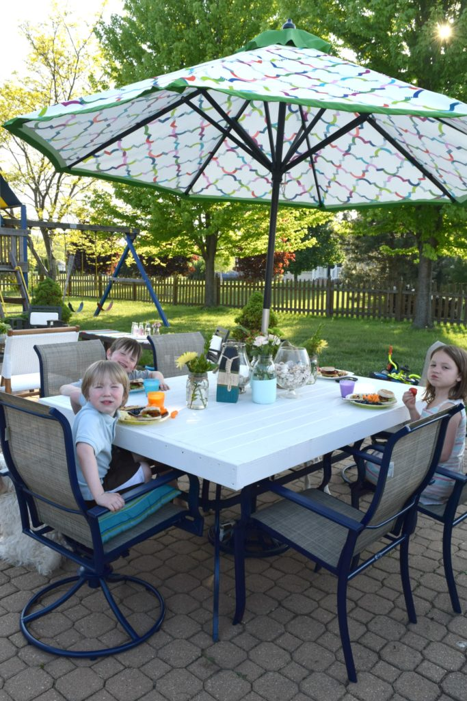 family outdoor eating