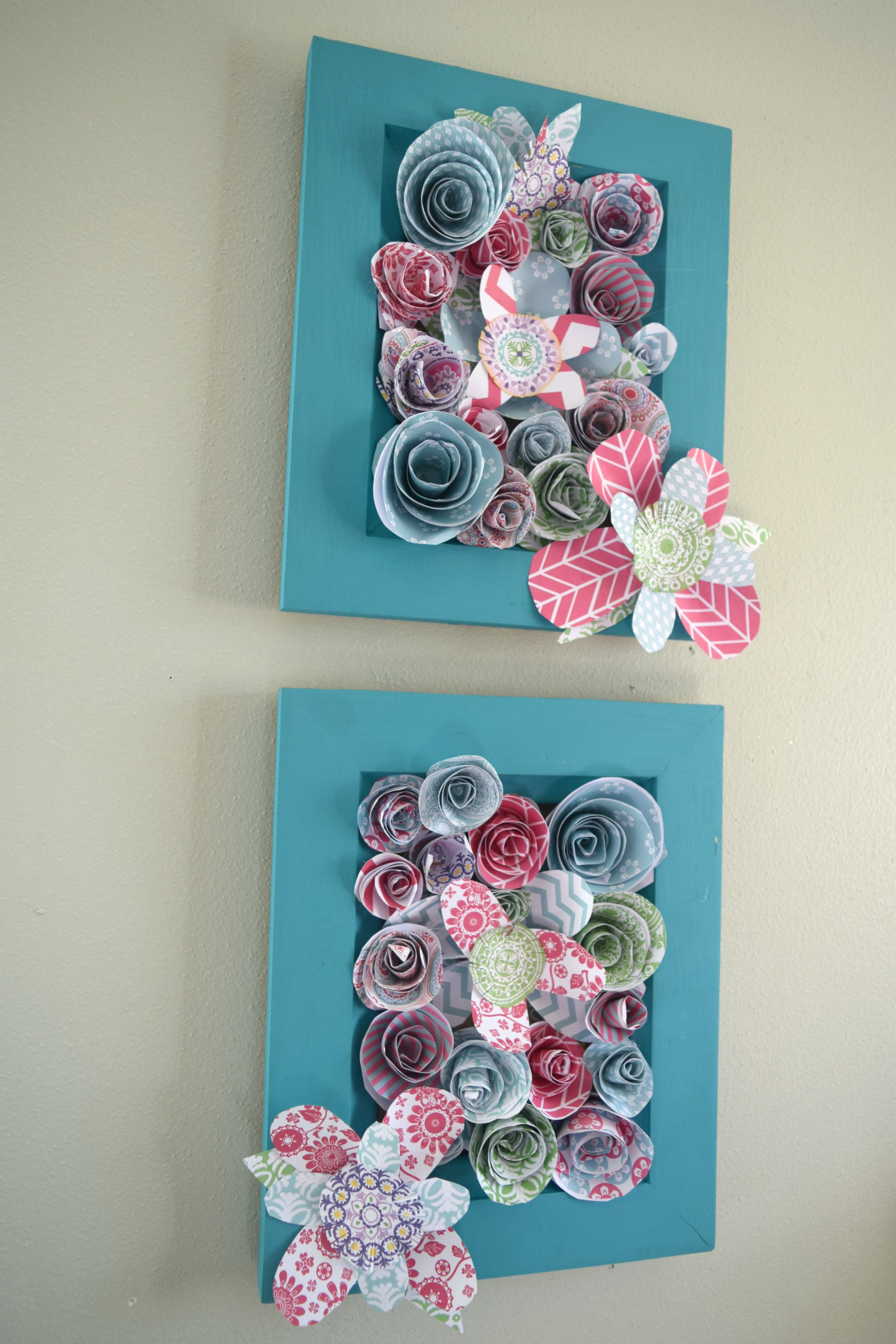 How to make wall art using paper flowers our house now a for How to make wall decoration