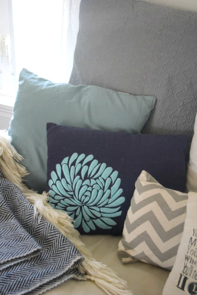 teal and navy throw pillows