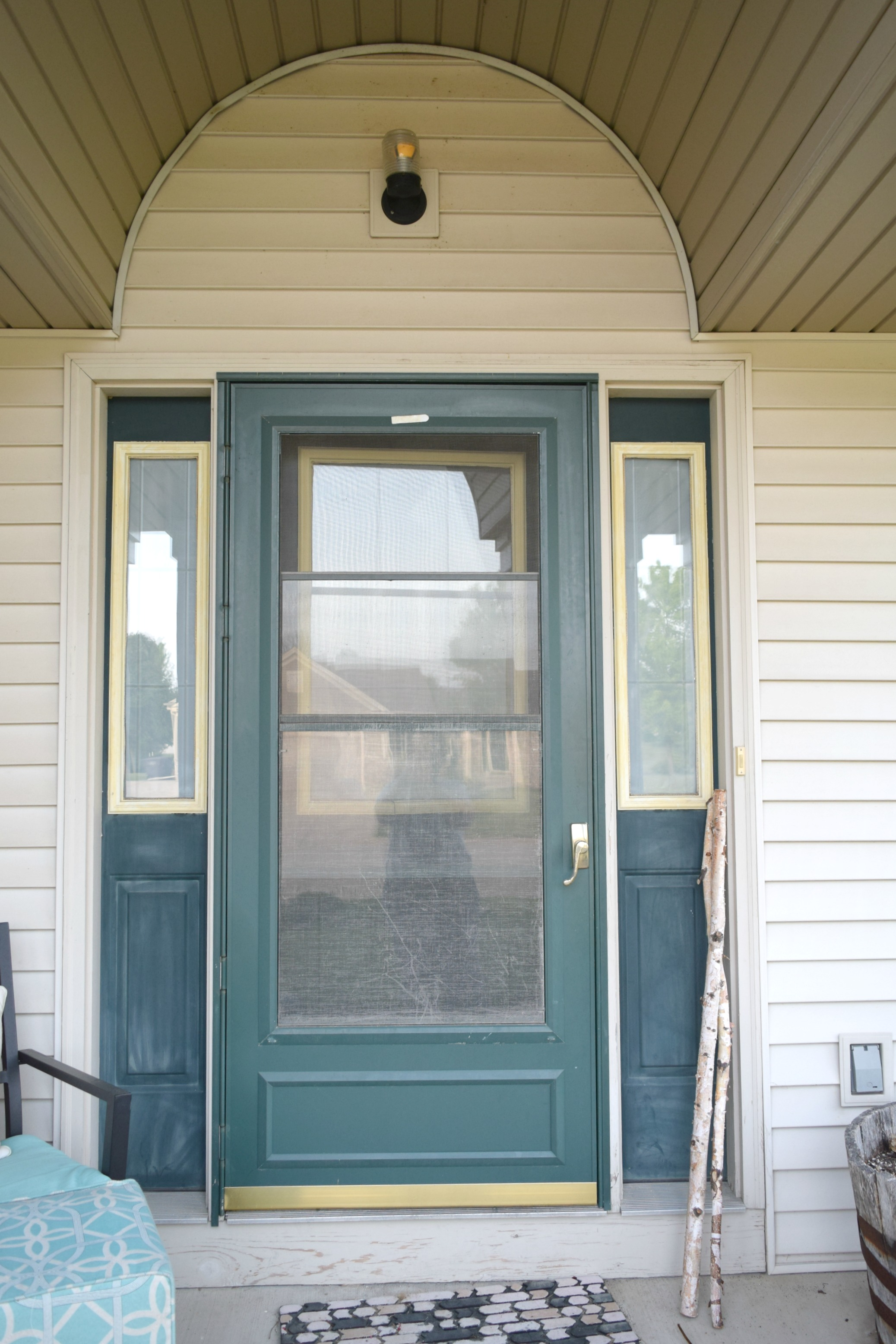 A Sun Damaged Former Dark Green Front Door. It Was Rough, Sad, And Needing  Some Love. Shutters Before