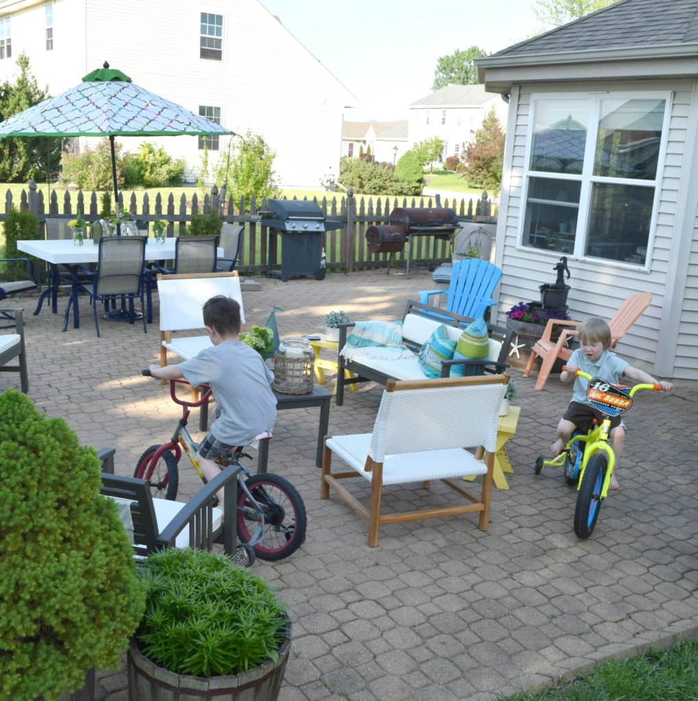 kids biking on patio