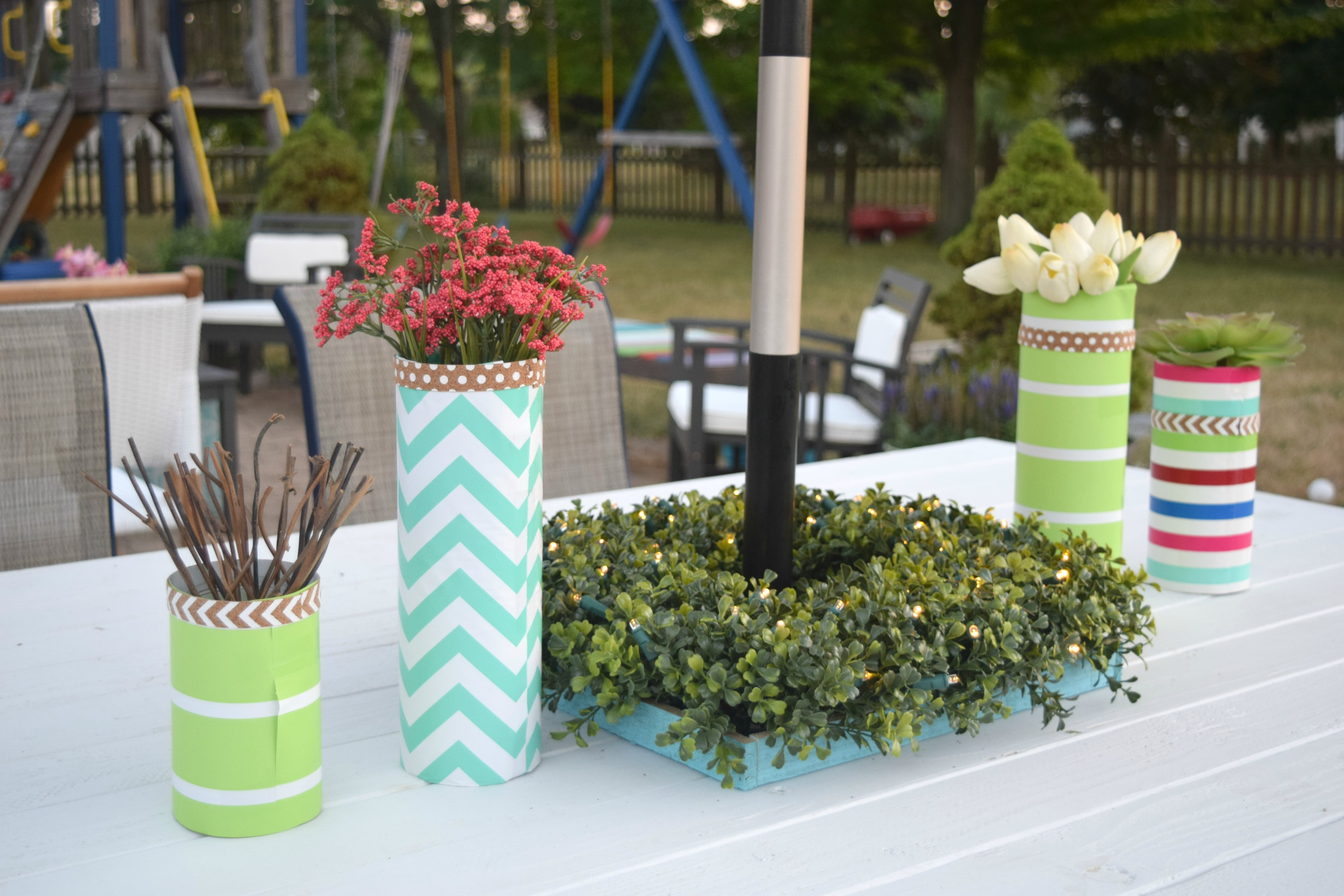Outdoor table centerpiece our house now a home for Patio table centerpiece
