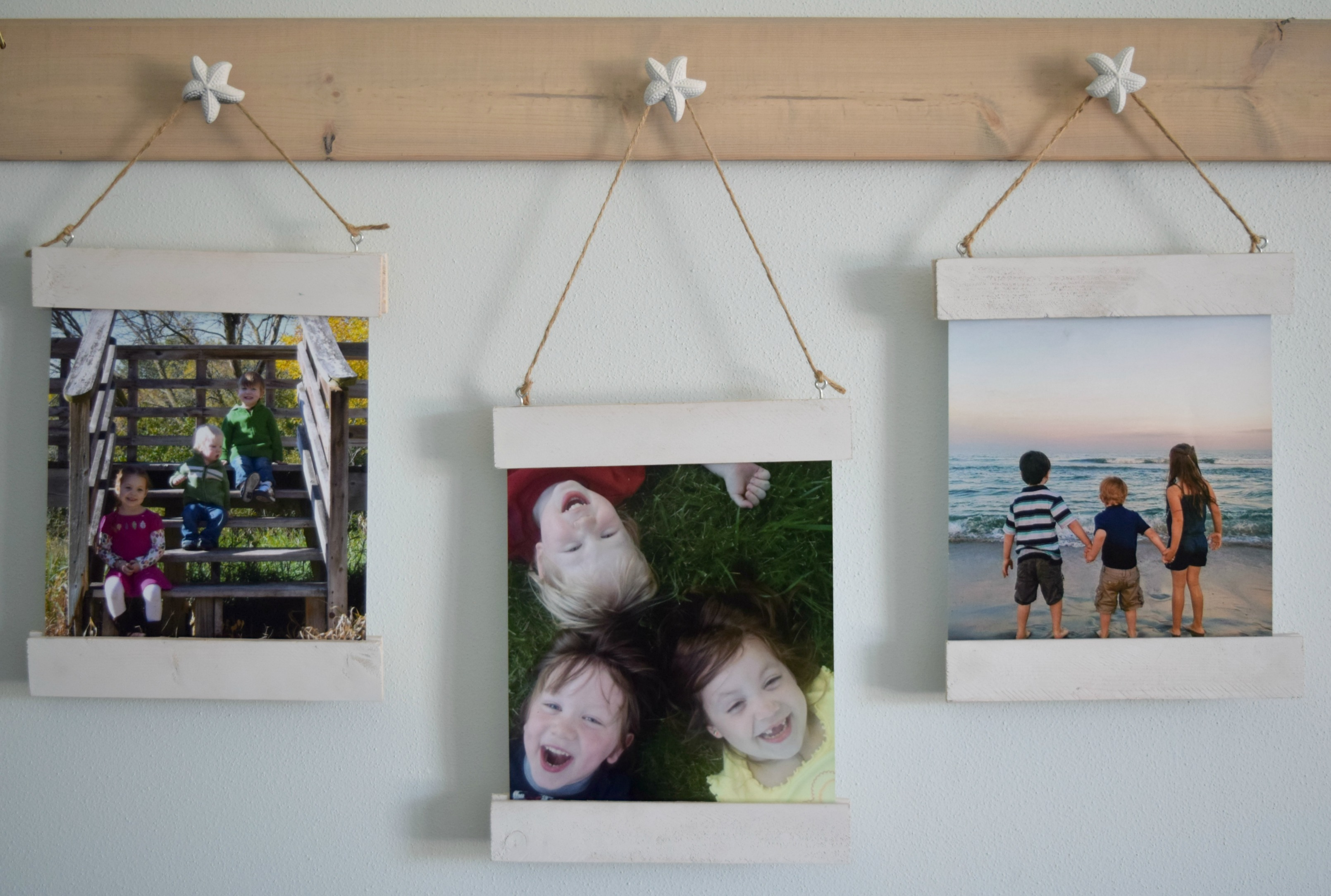 DIY wood scrap picture display with magnet frame