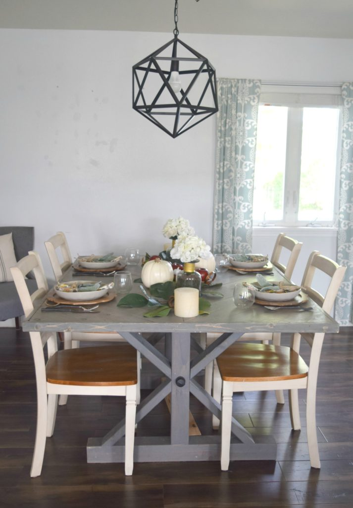diy farmhouse table and fall tablescape