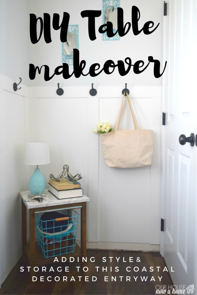 DIY table makeover with peel and stick paper
