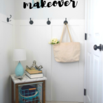 Entryway table makeover using peel and stick paper