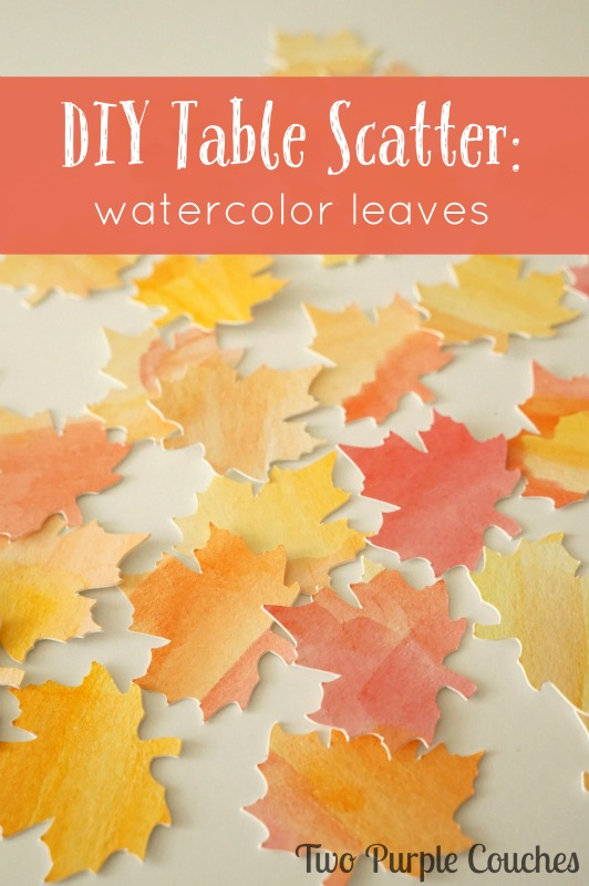 DIY table scatter watercolor leaves