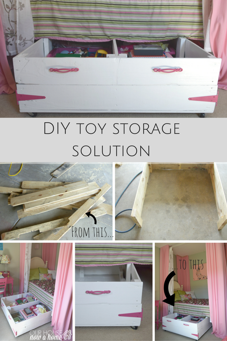 Diy wood pallet under bed toy storage our house now a home for Storage solutions for toys small rooms
