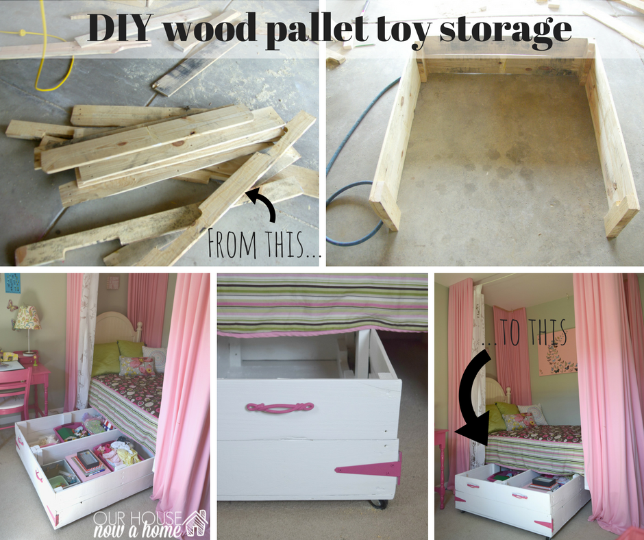 DIY Wood Pallet Under Bed Toy Storage Our House Now A Home
